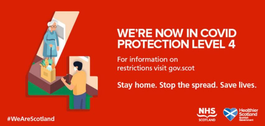 We're now in COVID protection level 4. For information on restrictions visit gov.scot. Stay home. Stop the spread. Save lives.